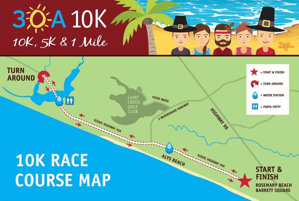 30A 10K and Fun Run | 30A 10K, 5K and Fun Run Event Maps Inlet Beach Florida Map on